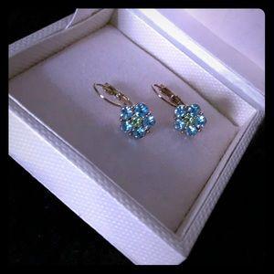 Blue floral rhinestone earrings